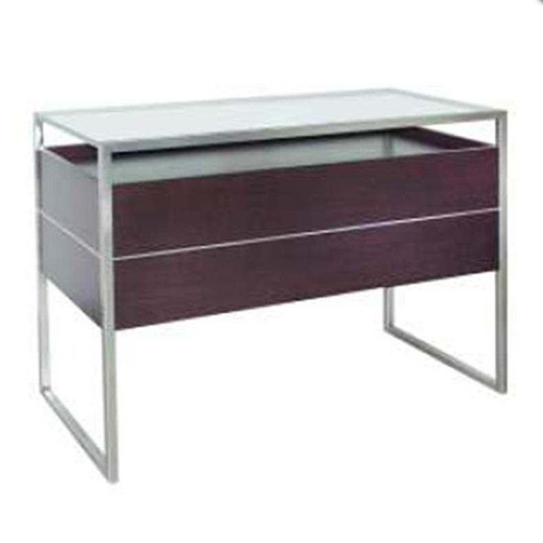 Banco da esposizione in acciaio inox e piano in vetro